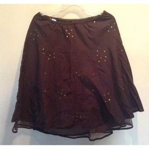 Chocolate colored  embroidered mini skirt …